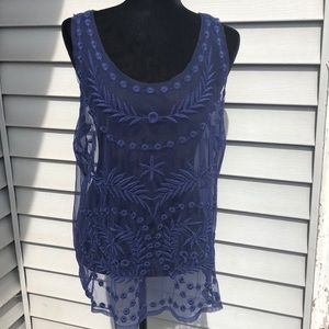 Lauren Conrad LC L embroidered sheer overlay  top